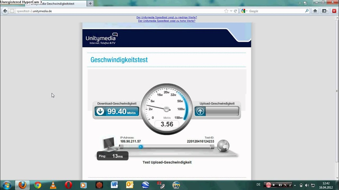 Unitymedia Speedtest 100mbit/s - YouTube