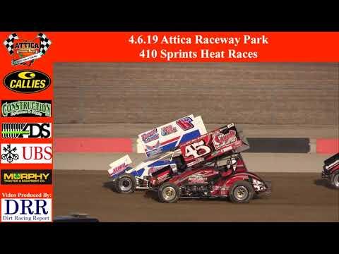 4.6.19 Attica Raceway Park 410 Sprints Heat Races