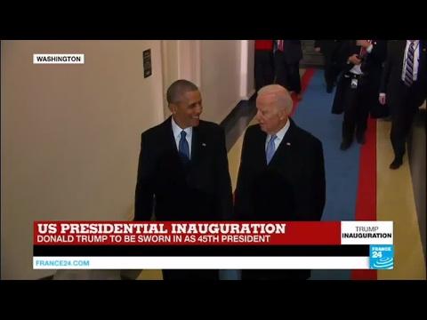 US Presidential Inauguration: Barack Obama Arrives With VP Joe Biden At Capitol Hill
