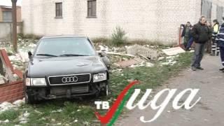 Девушка на Audi, чтобы не сбить собаку, снесла забор