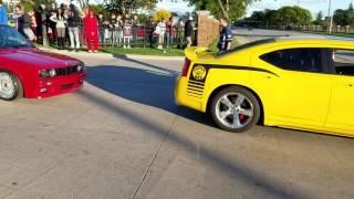 Cars leaving car show