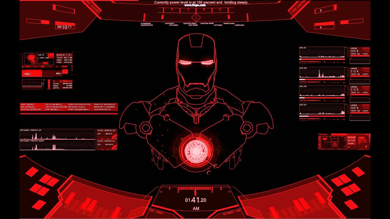 Animated 3d wallpaper jarvis interface - Rainmeter Ironman Red Theme