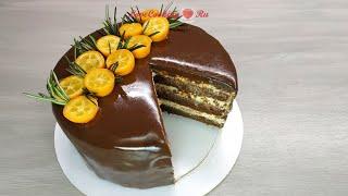 Шоколадный бисквитный торт с апельсиновым кремом Chocolate orange cake LoveCookingRu