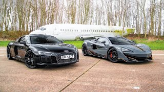 DRAG RACE!! AUDI R8 V10+ vs MCLAREN 600LT