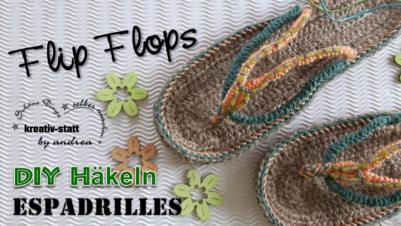 Diy Häkeln Espadrilles Flip Flops Mit Jute Und Wollresten