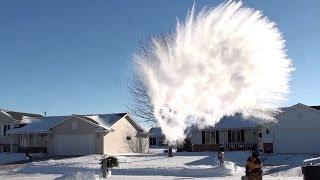 Making Snow with Boiling Water *HUGE MPEMBA EFFECT* experiment at SUB-ZERO temperatures