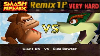 Smash Remix - Classic Mode Remix 1P Gameplay With Giant Donkey Kong (VERY HARD)