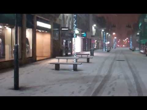 January Night Walk In The Snow City Centre Perth Perthshire Scotland