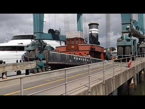 Queensland Maritime Museum   Steam Tug Forceful at the slipway 21 January 2021