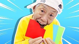 색종이를 먹을수 있다고요?!! 유니와 할아버지의 신비아파트 드로잉 캔디 먹는 색종이 숨바꼭질 놀이  Candy and Edible Colored Paper - 로미유브이로그