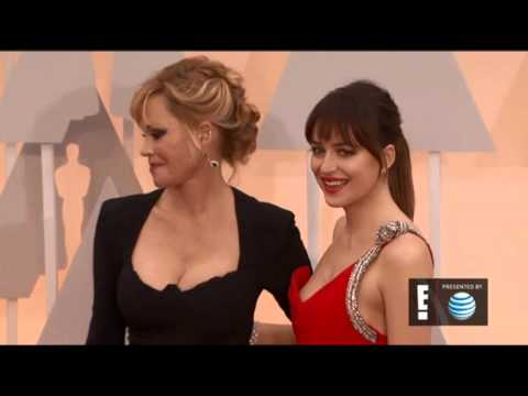 The Oscars: Dakota Johnson and her Mother walking the red carpet