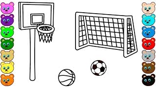 Coloring for Kids with Basketball & Soccer Court - Colouring Pages for Toddlers