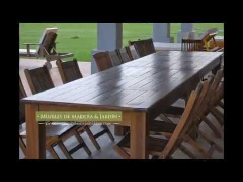 Mesas grandes muebles de madera y jard n com youtube for Muebles para jardin en madera