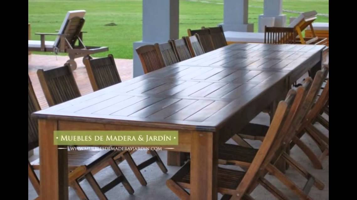 Mesas grandes muebles de madera y jard n com youtube for Mesas grandes