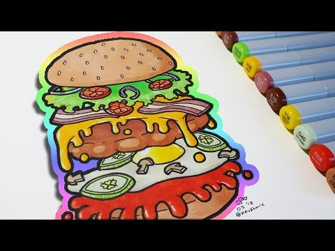 YUMMY BURGER 😋   Quick Illustration # 5   Copic Markers