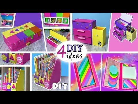 4 DIYs BEST rainbow IDEAS from cardboard// Cute ORGANIZER Tutorial Easy