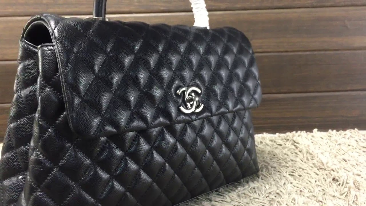aee0081fae83 Chanel Coco handle with caviar leather unboxing - YouTube