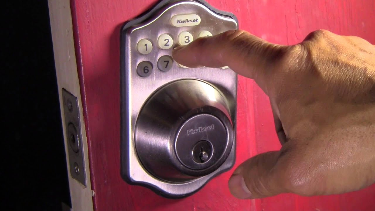 How to set the combination on a kwikset electronic lock filmed