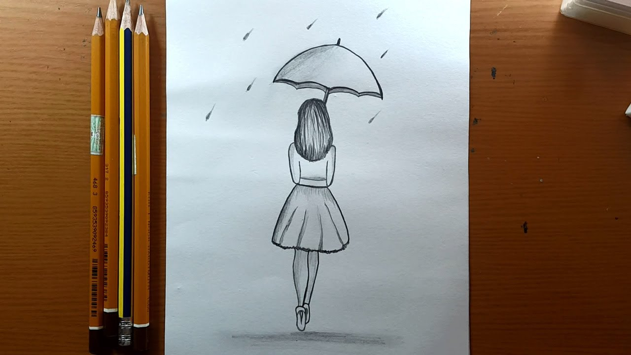 Come Disegnare Una Ragazza Con Lo Schizzo A Matita Ombrello How To Draw A Girl With Umbrella Youtube