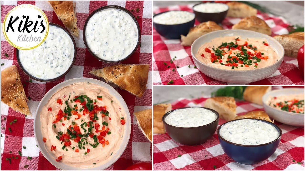 Schnelle Dips Grillen   Meze   Paprikadip und körniger Frischkäse Dip    Vorspeisen Platte