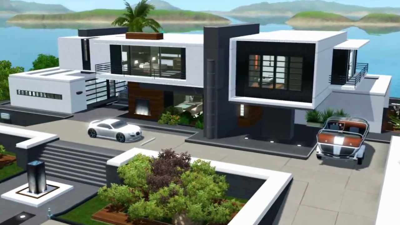 Sims 3 Modern Mansion Floor Plans: The Sims 3 Seaside Modern House NO CC