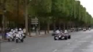 Sebastien Bourdais F1 Driver storms the streets of Paris wit