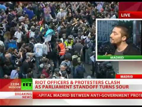 SPAIN: Violence Erupts In MADRID Over Austerity Cuts, POLICE Use Tear Gas And Rubber Bullets