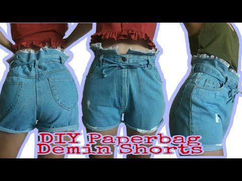 DIY Paperbag Denim Shorts | DIY กางเกงยีนส์ขาสั้นผูกเอว