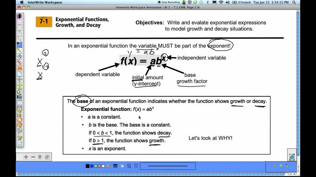 how to make an exponential function linear