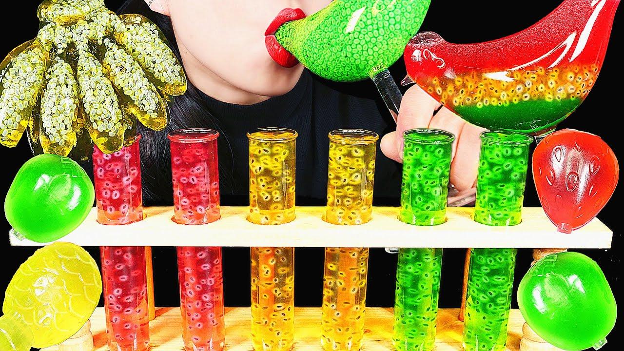 ASMR DRINKING SOUNDS 신기한 물 먹방 EDIBLE FROG EGGS TIKTOK JELLO BIRD GLASS COLORFUL RAINBOW DRINKS Abbey