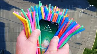 Can 100 Straws Protect iPhone X from 400 FT Drop Test?