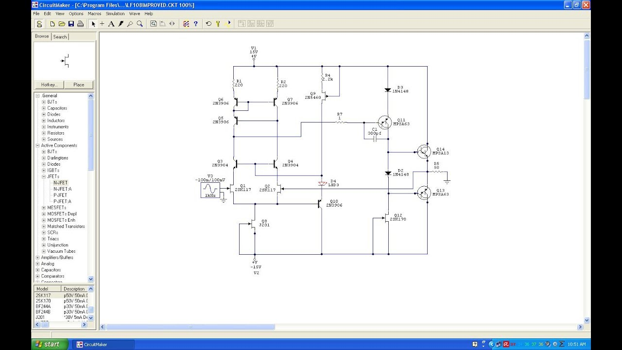 Lm318 Discrete Op Amp With Bass Bump Schematic In Protoboard Youtube
