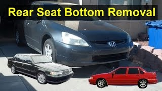 How to remove lower rear seat bottom cushion on most sedan cars, Volvo 850, S70, etc. - VOTD