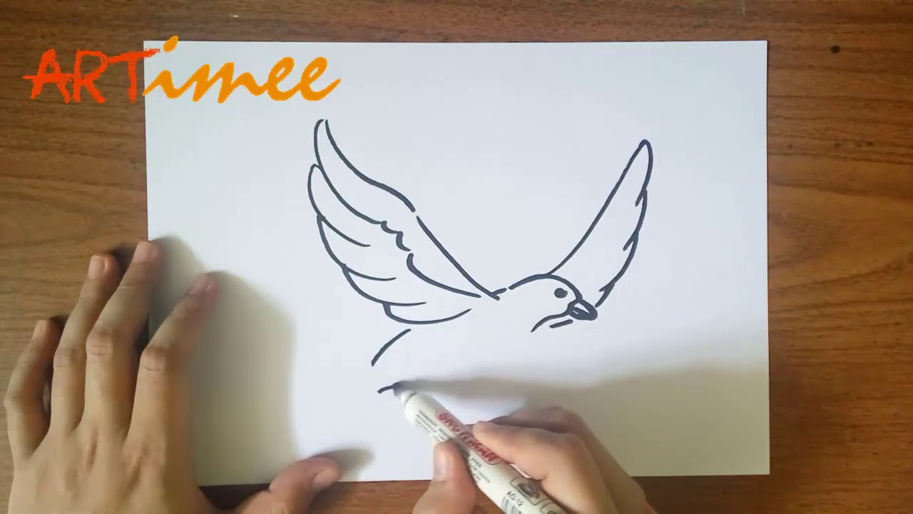 Easy Drawing How To Draw A Flying Bird Youtube