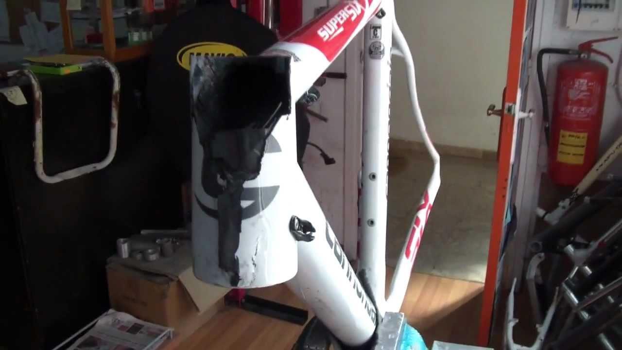 Antes y despues reparación cuadro carbono HD - YouTube