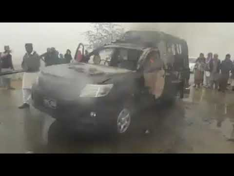 Police mobile caught fire near Shahdadkot Sindh