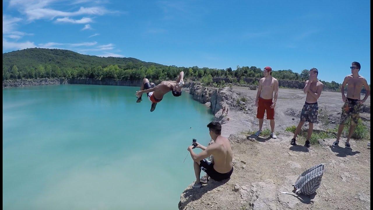 Peebles Ohio Cliff Jumping, 60ft!
