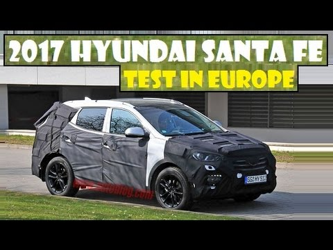 2017 Hyundai Santa Fe, this facelifted model spied undergoing testing in Europe