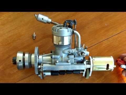 4 stroke model engine  OS FS-60 rc marine + onboard  starter