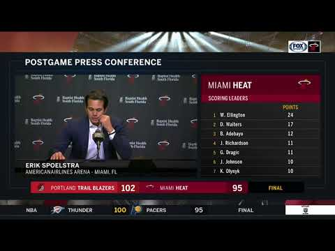 Erik Spoelstra -- Miami Heat vs Portland Trail Blazers 12/13/17