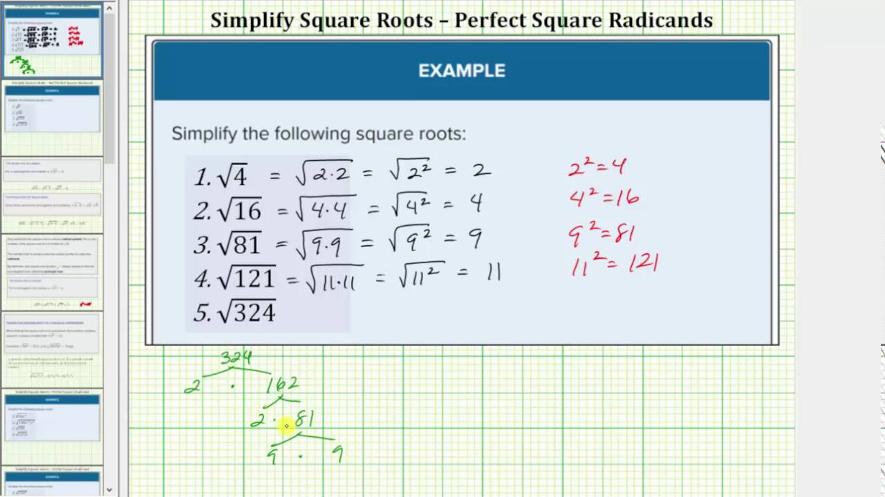Square Root Of 225 In Simplest Form : 15 times 15 equals 225.