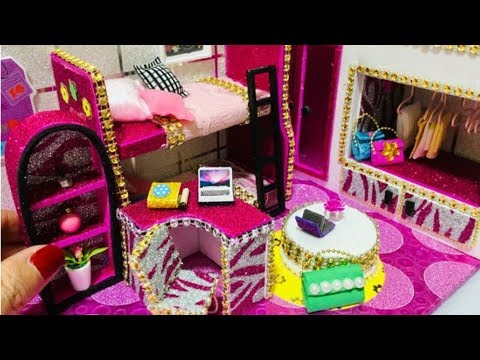 DIY Miniature Dollhouse Bedroom bunk bed for Stacie BArbie Sisters
