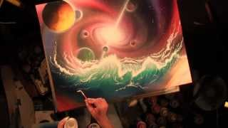 Hydraverse, waves in space. Universe and planets spray painting art, by Matt Sorensen
