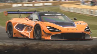McLaren 720S GT3 in Action up Goodwood Hillclimb! - Twin Turbo V8 Engine Sound!