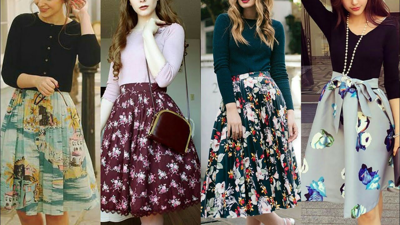 Very nice summer cotton fabric floral print office wear midi skirt outfits for working ladies #2020