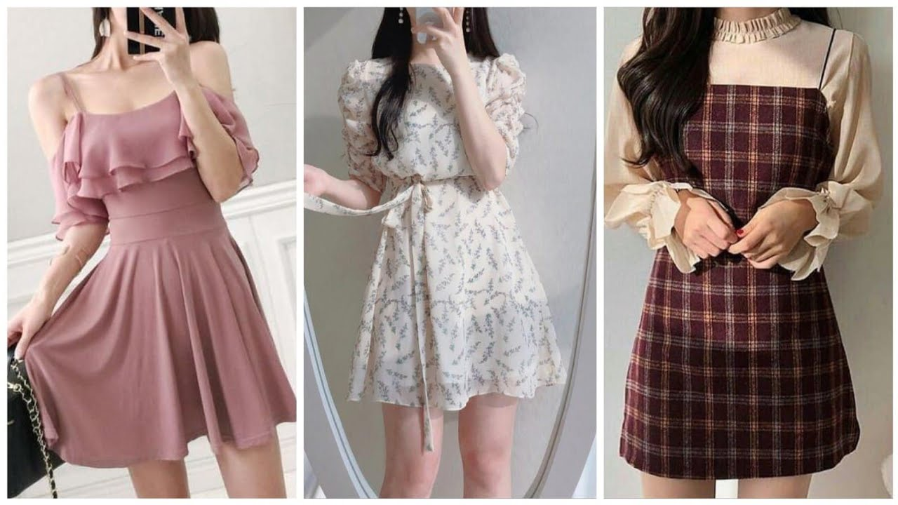 Latest Korean Outfits Collection 5/Printed And Plain Midi Korean Dresses