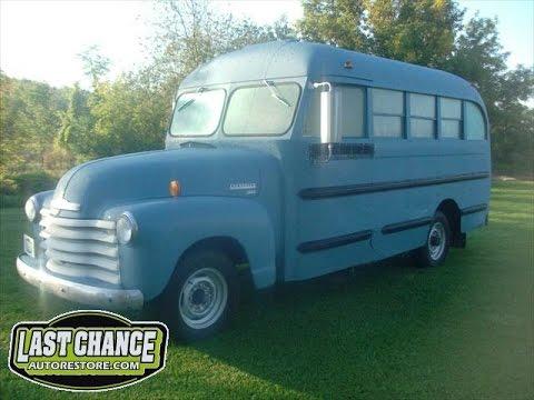 Old 1949 Chevy School Bus Movie Bus, by lastchanceautorestore.com