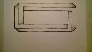 How To Draw The Impossible Rectangle optical illusion Step By Step Easy Shape Square
