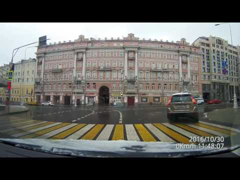 Driving in Real Time - First snow in Moscow City Center HD 60 fps