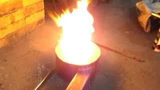 Горелка на отработке с подачей горячего воздуха.